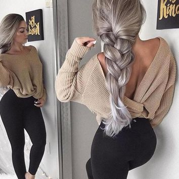 V Neck Wrap Sweater Loose Sleeve Two-Way Knit Thin Pullovers Knitted Crochet Jumper Pull Outerwear