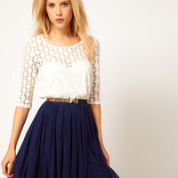ASOS Skater Dress With Spot Lace & Mesh Skirt