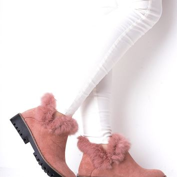 Pink Faux Fur Ankle Boots