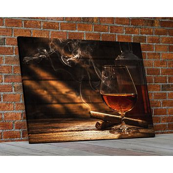 Cigar And Bourbon Canvas Wall Art Bourbon Art Cigar Art Man Cave