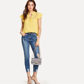 Floral Lace Yoke Office Lady Casual Elegant Shirt Womens Tops