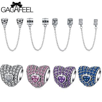 GAGAFEEL DIY Beads 925 Sterling Silver Jewelry Charms Safety Chain Fit Pandora Bracelet Bangle Necklace Diy Accessory Girls Gift