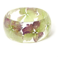 Pink Bracelet- Green Bangle- Pink Flower Jewelry- Resin Jewelry- Flower Bangle- Green Resin Bracelet