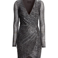 H&M - Wrap-front Dress - Light gray - Ladies