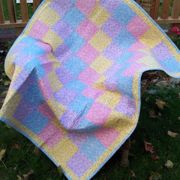 Baby Girl Quilt or Throw Blanket in Spring Pastels Pinks, Blues, Yellows, Purples