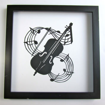 VIOLIN and Music Notes - GRADUATION Gift Black Silhouette Paper Cut for Music Lovers Wall and Home Décor Handmade Framed One Of A Kind