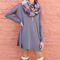 Marble Canyon Gray Turtleneck Dolman Sleeve Tunic