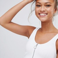 Bershka zip front crop top in white at asos.com