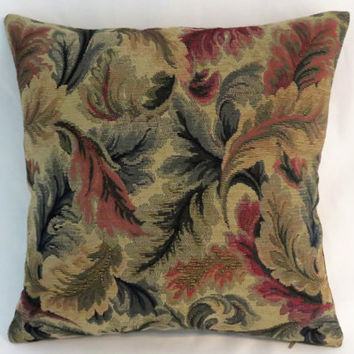 "Leaf Chenille Tapestry Pillow, 17"" Sq, Old World Verdure Style in Green, Gold, Taupe, Rust, Red, Cover Only or Insert Included, Ready Ship"