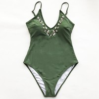 Dreams Link Embroidery One-piece Swimsuit - shopdevi