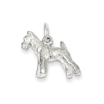 Sterling Silver 3D Schnauzer Dog Charm or Pendant