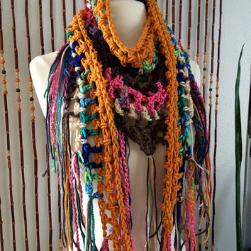 FREE SHIPPING - Crochet Triangle Steps Scarf - Multi, Rainbow, Gold, Brown, Tan, Green, Blue, Purple, Pink