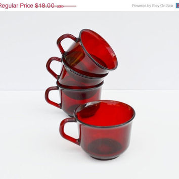 ON SALE Glassware Ruby Red Arcoroc of France (set of 4 cups)