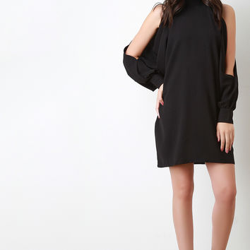 Cold Shoulder Arm Slit Shift Dress