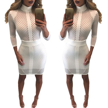 Ladies Women Sexy Dress Turtleneck Slim Bodycon Bandage Long Sleeve Club Party Mini Dress vestidos femininos INY66