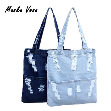 Women Canvas Bag Denim Tote Ladies Large Capacity Brief Handbags Female Shopping Book Teacher Nurse Organizer Shoulder Bag