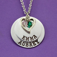 Mommy Necklace - Personalized Layered 2 Names 2 Birthstones Heart Charm