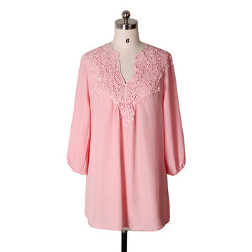 Spring Chiffon Blouse Long-Sleeved Blouses V neck Lace-up Patchwork Elegant Casual Blouse Shirt Fema