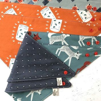 The Bird & Elephant - Woodland Camp Reversible Baby Bibs