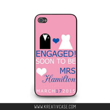 Engaged Phone Case, iPhone 5, iPhone 5C, iPhone 4, iPhone 4S, Personalized Wedding Phone Cover, Engagement Gift, Custom Colors - K329