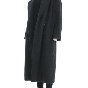 "Oversized Wool Coat 80s Clothing Long Wool Coat Gray Wool Coat Minimalist Clothing Made in the USA Vintage Clothing Women's Size XL 43"" Bust"