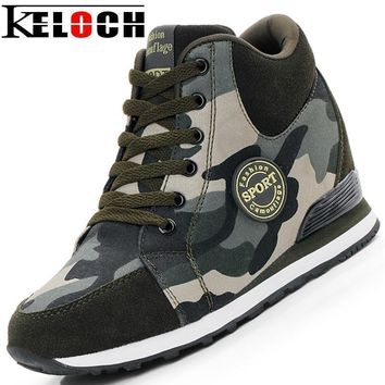 Women Camouflage Print Hidden Wedge Lace Up Boots