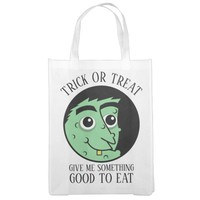 Witch Face Trick Or Treat Grocery Bag