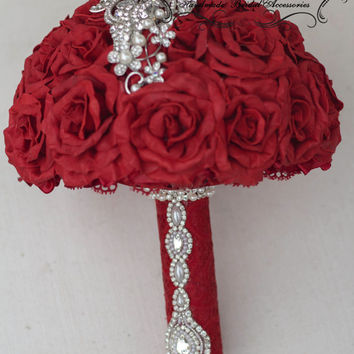 Brooch Bouquet, dark red Bouquet , red and pearl bouquet , Wine Wedding Brooch Bouquet