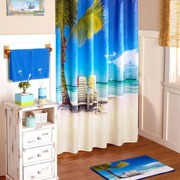 Beach Tropical Theme Colorful Bathroom Accessories Palm Tree Seashells