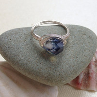 Ring grey Czech glass, custom size, ab finish, wire wrap, silver plated