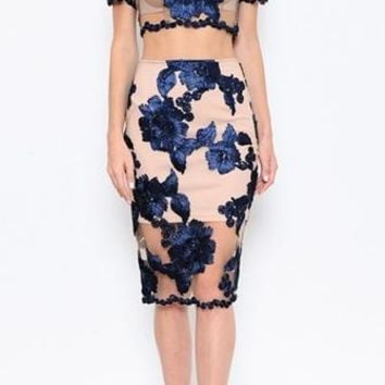 Ravishing Roses Blue Beige Sheer Mesh Floral Embroidery Short Sleeve Crop Two Piece Bodycon Midi Dress