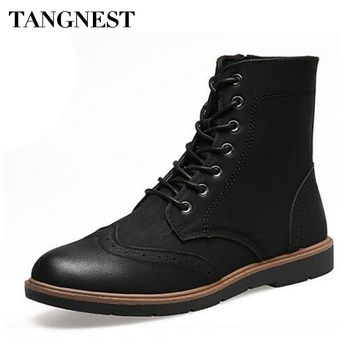 Tangnest Man's Manual Suture Cut-Outs Ankle Boots Men Handmade PU Leather Shoes Men Winter Lace Up Side Zip Fashion Boots XMX649