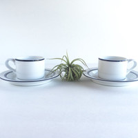 Pair of Vintage Dansk Bistro Christianshavn Blue Demitasse Cups and Saucers by Niels Refsgaard