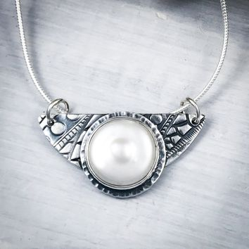 Pearl & Sterling Silver Half Moon Necklace
