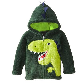 2017 New Kids Boys Girls Leisure Coral Velvet Coat Jacket Children Cartoon Animal Dinosaur Owl Cat Leopard Embroidered Hoodies