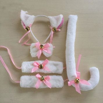 LOVELIVE Cospaly Cute Kawail Cartoon Cat Tail Ears With Bow And Bells Cat Neko Hairbands Ears Set Maid Lolita Plush FX18