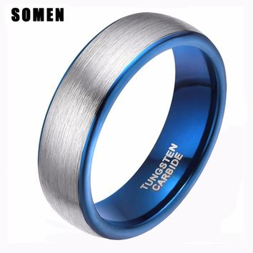 8mm Men's Brushed Silver Tungsten Carbide Ring Blue Inlay Women Wedding Band Male Fashion Jewelry Anel Engagement Mood Ring