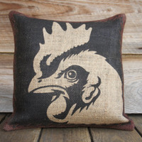 Chicken Pillow Cover, Burlap Throw Pillow, Rustic Furniture, Decor