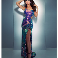 Mac Duggal Prom 2013- Black/ Multi Colored Sequin Gown - Unique Vintage - Cocktail, Pinup, Holiday & Prom Dresses.