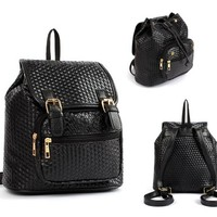 Ohraina Woven Double Buckle-flap Backpack