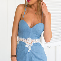 Lace Hollow Out Sexy Strapless Condole Belt Jumpsuits