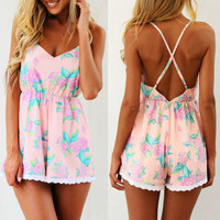 Sexy Style Spaghetti Strap Floral Print Criss-Cross Backless Romper For Women