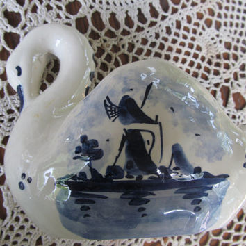 Blue Delfts Holland Swan Made in Holland Handpainted Air Plant Cobalt Blue Flow Blue