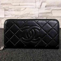 Perfect CHANEL Women Fashion Leather Zipper Wallet Purse