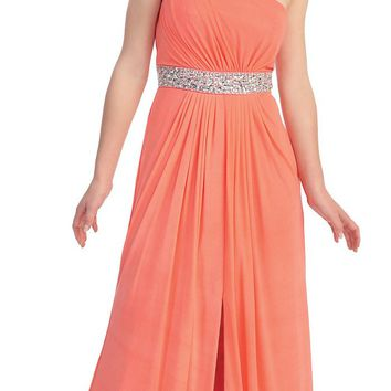 Greek Coral Dress Long Empire Rhinestone Waist Front Slit One Strap