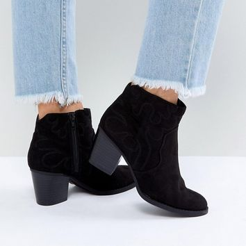 New Look Wide Fit Western Heeled Ankle Boot at asos.com
