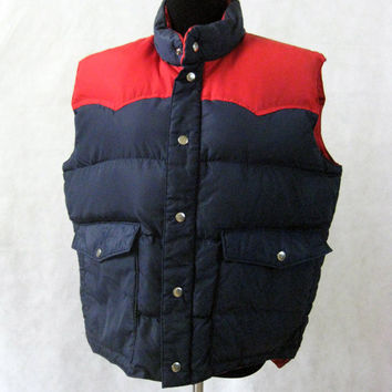 80s Down Vest, Vintage Envoy The Now Jacket Red and Navy Blue Down Filled Puffy Vest Size L Large