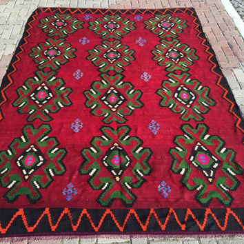 Large Turkish Kilim Rug, Red black and green Flower design Kilim Rug, Flatwoven Unique Kilim, Area Rug, kelim rug, floor rug, living room