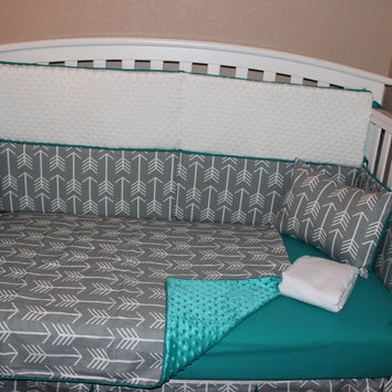 Grey Arrow 5 Piece Crib Bedding Set