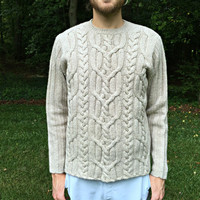 100% Lambswool Sweater by the Gap - Thick Aran Cables - Beige Wool - Irish Fisherman Style - Men's Size Small (S)